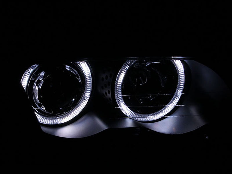 Black Housing Halogen Headlights Compatible with BMW 320i 323i 325i 325xi 328i 330i 1999-2001 Includes Left Driver and Right Passenger Side Headlamps