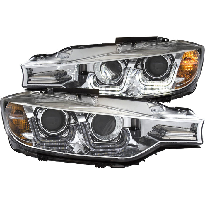 Chrome Housing HID Headlights Compatible with BMW 328d 328i 335i 2012-2014 Includes Left Driver and Right Passenger Side Headlamps
