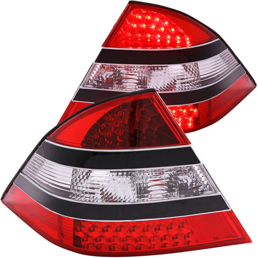 Black Housing LED Tail Light Compatible with Mercedes-Benz S430 S450 S500 S55 AMG S550 S600 2000-2005 S-Class Includes Left and Right Side Tail Lights with Red and Clear Lens