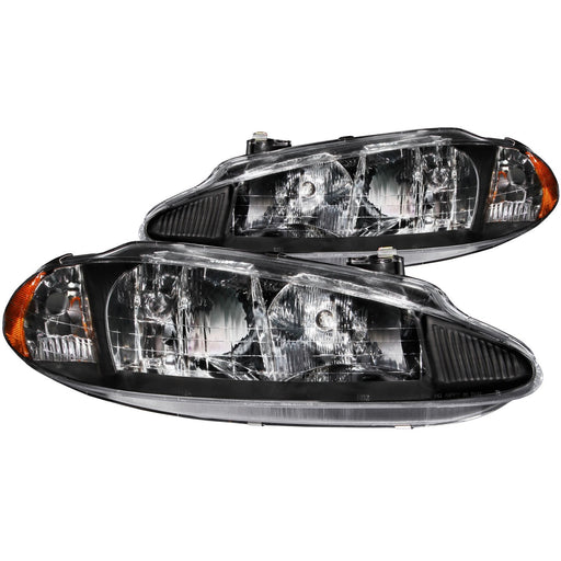 Black Housing Halogen Headlights Compatible with Dodge Intrepid 1998-2004 Includes Left Driver and Right Passenger Side Headlamps