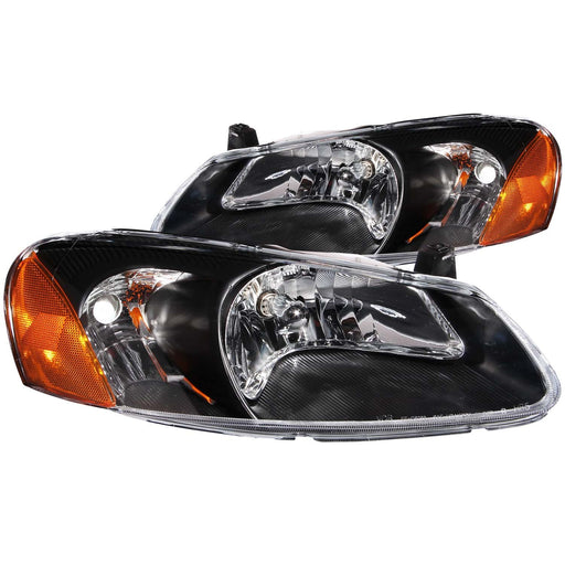 Black Housing Halogen Headlights Compatible with Chrysler Dodge Sebring Stratus 2001-2004 Includes Left Driver and Right Passenger Side Headlamps