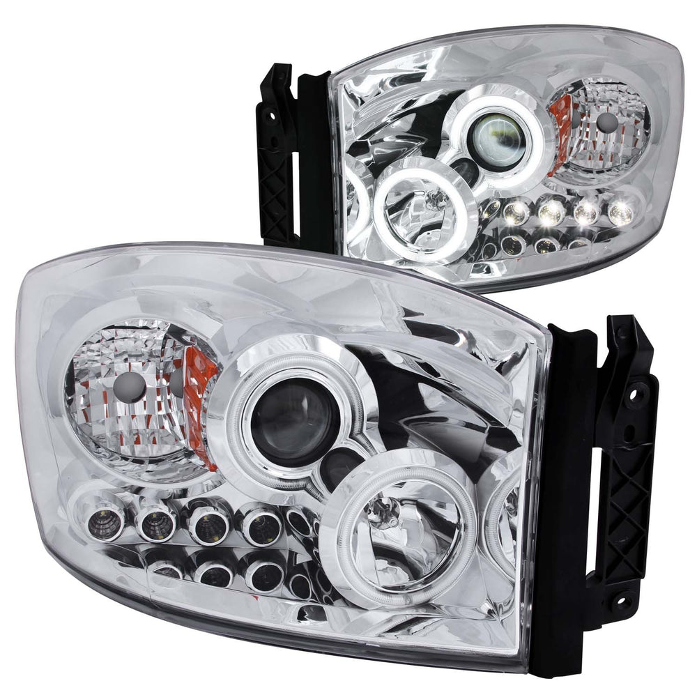 Chrome Housing Halogen Headlights Compatible with Dodge Ram 1500 2500 3500 2006-2008 Includes Left Driver and Right Passenger Side Headlamps