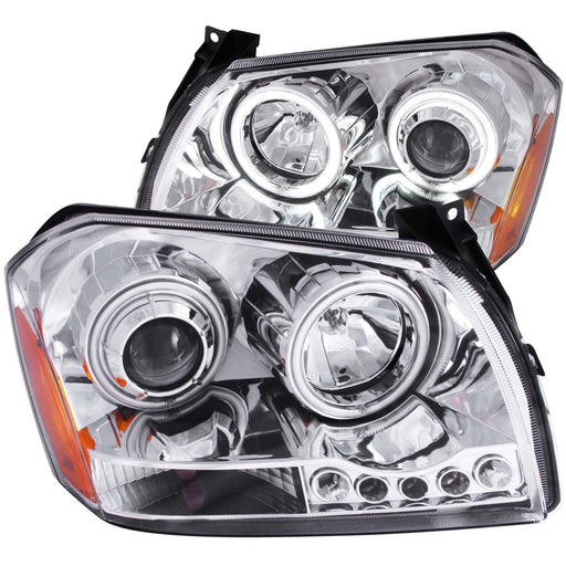 Chrome Housing Halogen Headlights Compatible with Dodge Magnum 2005-2007 Includes Left Driver and Right Passenger Side Headlamps