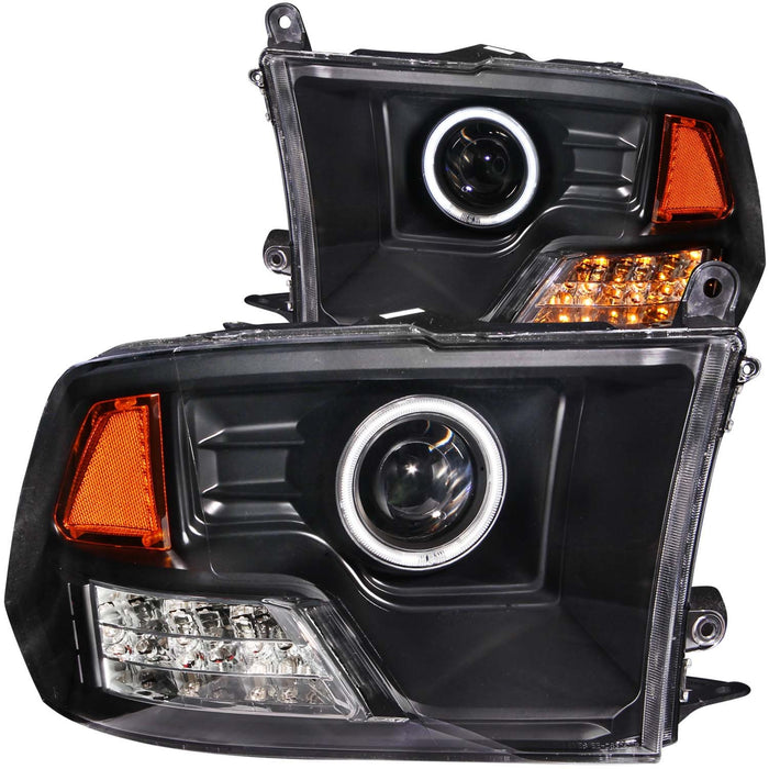 Black Housing Halogen Headlights Compatible with Dodge Ram 1500 2500 3500 2009-2017 Includes Left Driver and Right Passenger Side Headlamps