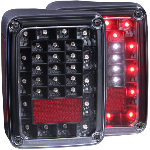 Black Housing LED Tail Light Compatible with Jeep Wrangler 2007-2015 Includes Left Driver and Right Passenger Side Tail Lights
