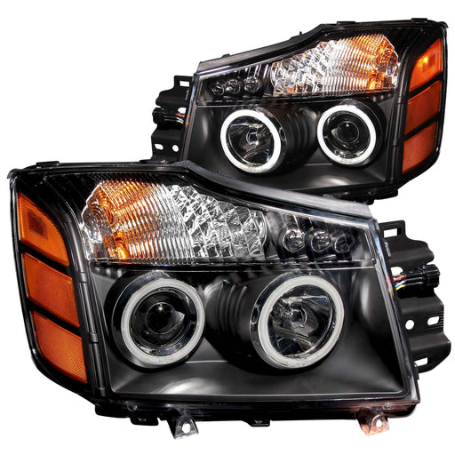 Black Housing Halogen Headlights Compatible with Nissan Armada Titan 2004-2007 Includes Left Driver and Right Passenger Side Headlamps