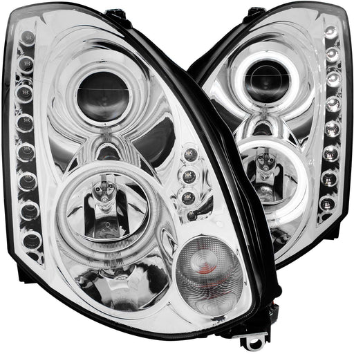 Headlights Set Chrome Projector Clear Halo HID Left Driver Right Passenger Pair Fits 2003-2007 Infiniti G35 2 Door Coupe