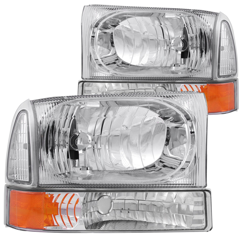 Ford Excursion F-250 F350 SD Headlights Left & Right Pair w/ Clear Lens & Chrome