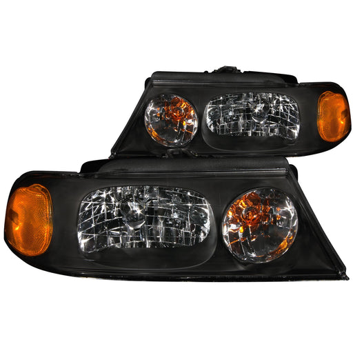 Black Housing Halogen Headlights Compatible with Lincoln Navigator 1998-2002 Includes Left Driver and Right Passenger Side Headlamps