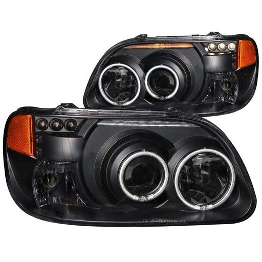 Black Housing Halogen Headlights Compatible with Ford Mercury Explorer Mountaineer 1995-2001 Includes Left Driver and Right Passenger Side Headlamps