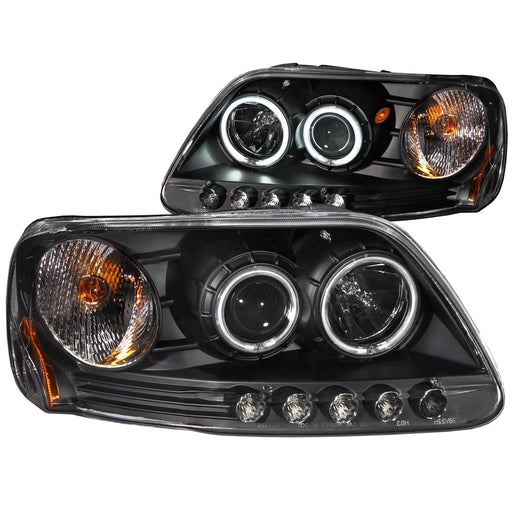 Black Housing Halogen Headlights Compatible with Ford Expedition F-150 1997-2003 Includes Left Driver and Right Passenger Side Headlamps