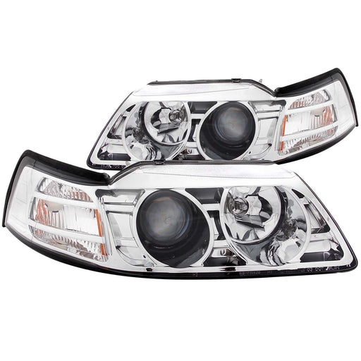 Chrome Housing Halogen Headlights Compatible with Ford Mustang 1999-2004 Includes Left Driver and Right Passenger Side Headlamps
