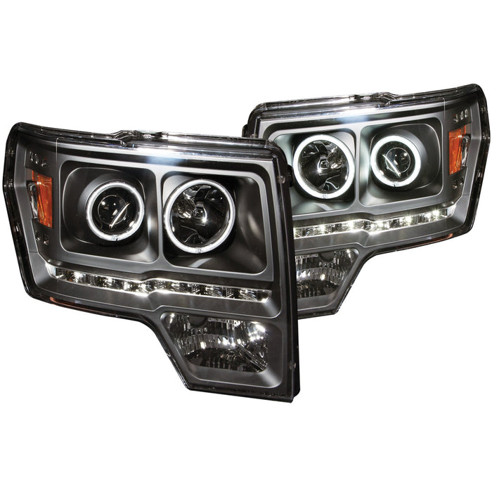 09-14 Ford F-150 Headlights Left & Right Pair w/ Clear Lens & Black