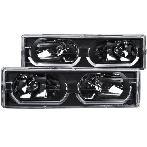 Black Housing Halogen Headlights Compatible with Chevrolet GMC Blazer C/K Models Suburban Tahoe Yukon 1988-2000 Includes Left Driver and Right Passenger Side Headlamps
