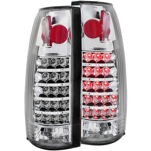 Chrome LED Tail Light Compatible with Cadillac Chevrolet GMC Blazer C/K Models Pickup Escalade Suburban Tahoe Yukon 1988-2000 Includes Left Driver and Right Passenger Side Tail Lights