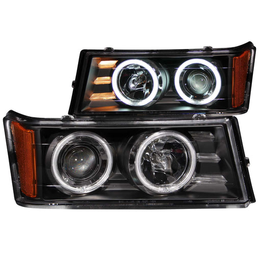 Black Housing Halogen Headlights Compatible with Chevrolet GMC Canyon Colorado 2004-2012 Includes Left Driver and Right Passenger Side Headlamps
