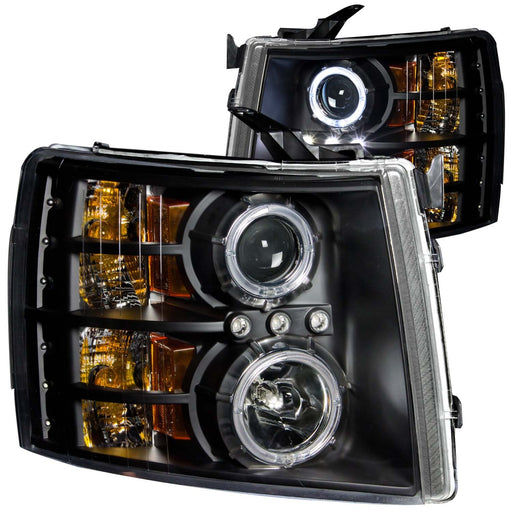 Black Housing Halogen Headlights Compatible with Chevrolet Silverado 1500 2500 3500 HD 2007-2014 Includes Left Driver and Right Passenger Side Headlamps