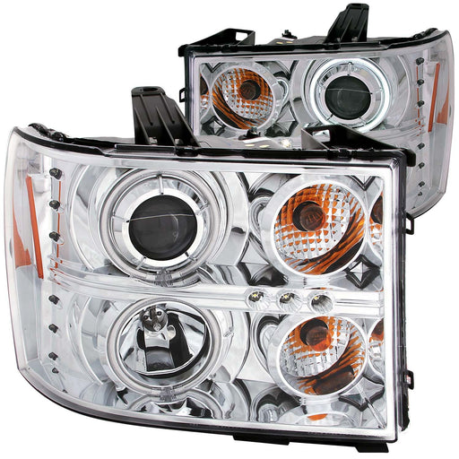 Chrome Housing Halogen Headlights Compatible with GMC Sierra 1500 2500 3500 HD Sierra Denali 2007-2014 Includes Left Driver and Right Passenger Side Headlamps