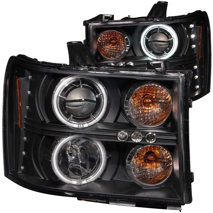 Black Housing Halogen Headlights Compatible with GMC Sierra 1500 2500 3500 HD Sierra Denali 2007-2014 Includes Left Driver and Right Passenger Side Headlamps
