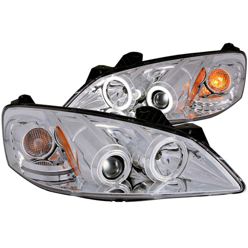 Chrome Housing Halogen Headlights Compatible with Pontiac G6 2005-2009 Includes Left Driver and Right Passenger Side Headlamps