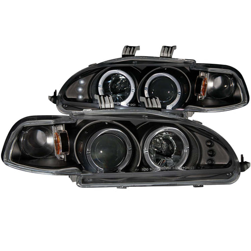 Black Housing Halogen Headlights Compatible with Honda Civic 1992-1995 Includes Left Driver and Right Passenger Side Headlamps