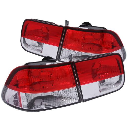 Tail Light Compatible with Honda Civic 1996-2000 Includes Left Driver and Right Passenger Side Tail Lights with Red and Clear Lens