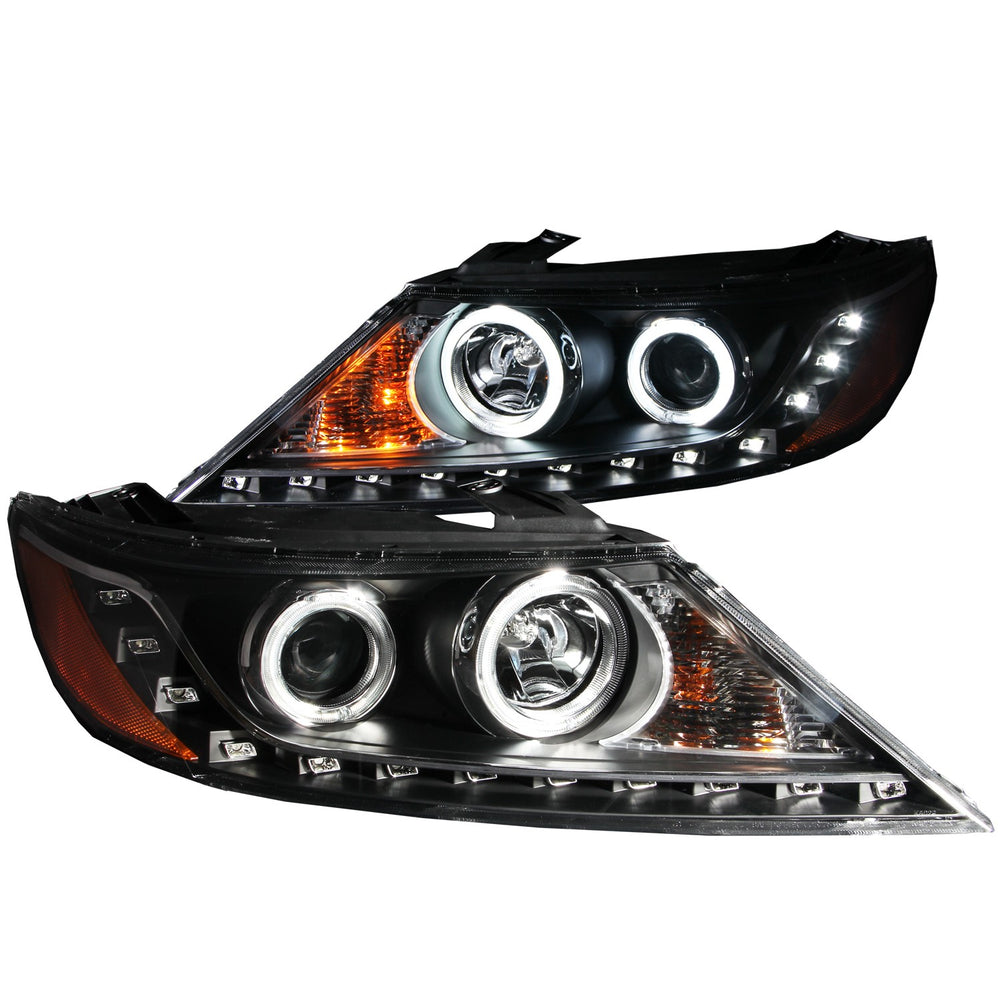 Black Housing Halogen Headlights Compatible with Kia Sorento 2011-2013 Includes Left Driver and Right Passenger Side Headlamps