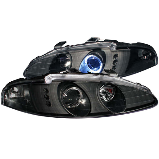 Black Housing Halogen Headlights Compatible with Eagle Mitsubishi Eclipse Talon 1995-1996 Includes Left Driver and Right Passenger Side Headlamps