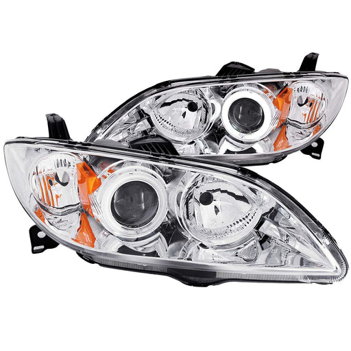 Chrome Housing Halogen Headlights Compatible with Mazda 3 2004-2009 Includes Left Driver and Right Passenger Side Headlamps