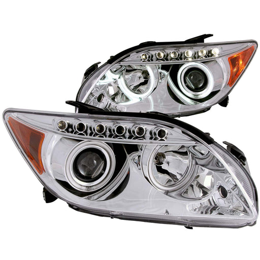 Chrome Housing Halogen Headlights Compatible with Scion tC 2005-2010 Includes Left Driver and Right Passenger Side Headlamps