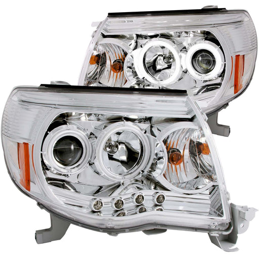 Chrome Housing Halogen Headlights Compatible with Toyota Tacoma 2005-2011 Includes Left Driver and Right Passenger Side Headlamps
