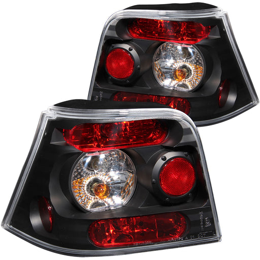 Black Housing Halogen Tail Light Compatible with Volkswagen Golf 1999-2004 Includes Left Driver and Right Passenger Side Tail Lights