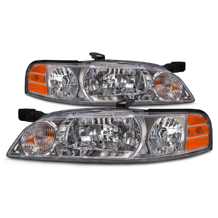 Headlights Set Chrome Halogen-Type Driver Left Right Passenger Pair Fits 2000-2001 Nissan Altima