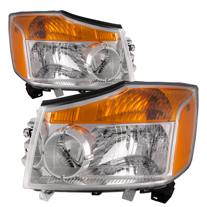 Headlights Halogen w/Amber Set Driver Left Passenger Right Pair Fits 2008-2015 Nissan Titan