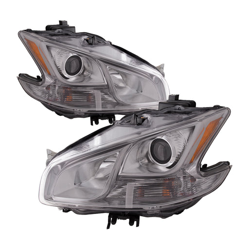Headlights Halogen-Type Chrome Left Right Pair Assembly Fits 2009-2014 Nissan Maxima