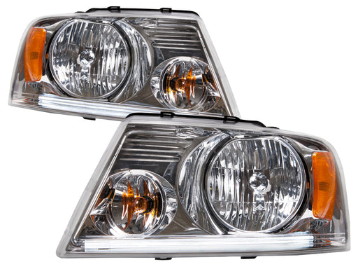 PERDE Headlight Set Chrome w/DRL LED Bar Pair Fits 2004-2008 Ford F-150