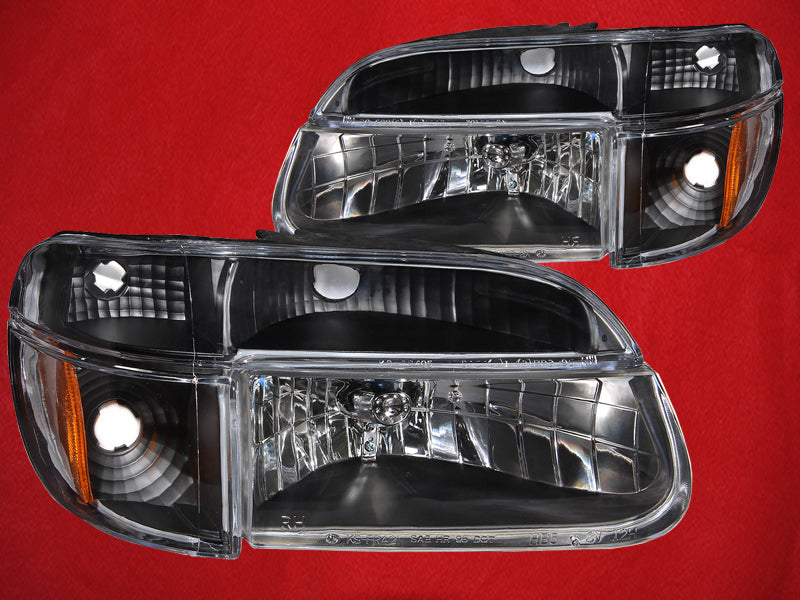 Headlights 4-Piece Black Housing Set Driver Left Passenger Right Pair Fits 1995-2001 Ford Explorer/1997 Mercury Mountaineer
