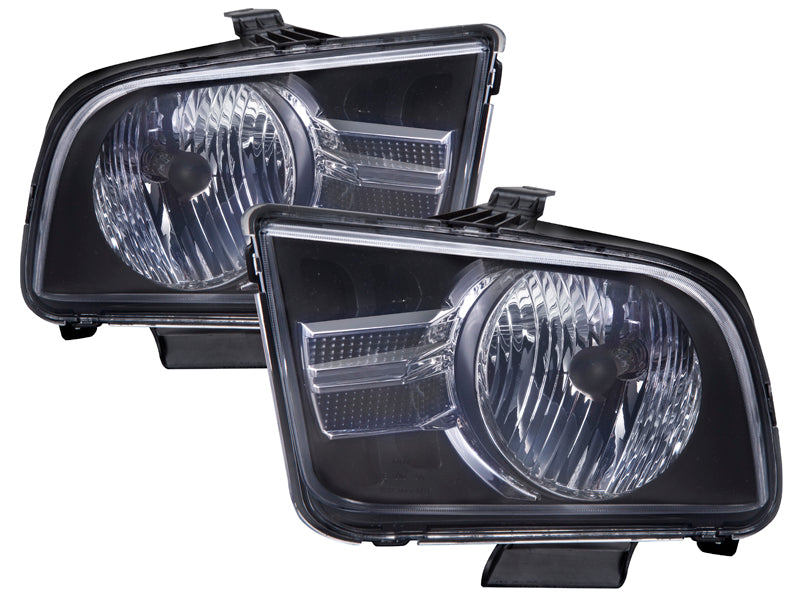 PERDE Headlights Set w/ Chrome Insert (2012 Style) Driver Left Passenger Right Pair Fits 2005-2009 Ford Mustang