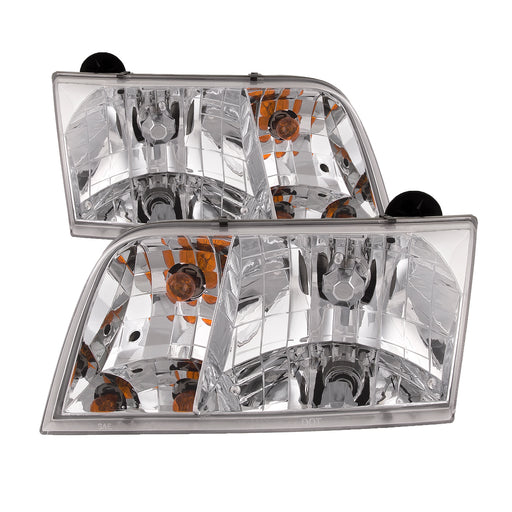 Headlights Set Halogen Chrome Driver Left Passenger Right Pair Fits 1998-2011 Ford Crown Victoria