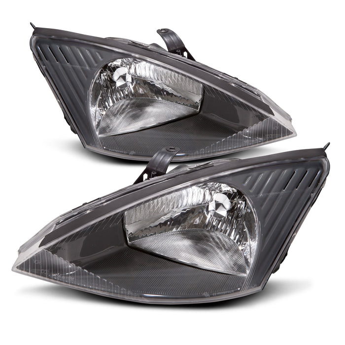 Headlights Set Halogen w/Gray Bezel  (Non-HID) Driver Left Passenger Right Pair Fits 2003-2004 Ford Focus