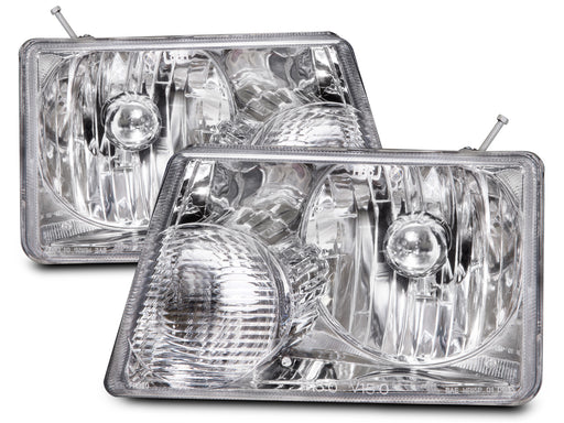Headlights Chrome Set w/Halogen-type Xenon Bulbs Driver Left Passenger Right Pair Assembly Fits 2001-2011 Ford Ranger