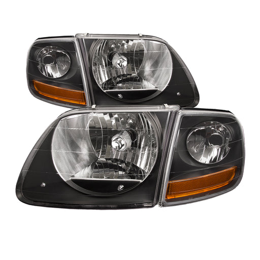 Headlights Black 4-Piece Set w/Corners Lightning-Style Harley Fits 1997-2003 Ford F-150/Expedition