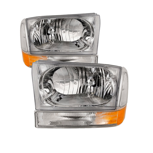 Headlights Chrome Clear Fluted Stock Style 4-Piece Set Halogen Pair Fits 1999-2004 Ford SuperDuty F-250/F-350/F-450/Excursion