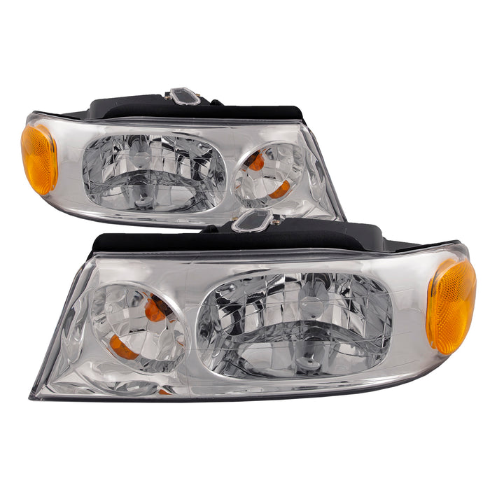 Headlights Set Chrome Housing Halogen Driver Left Passenger Right Pair Fits 1998-2002 Lincoln Navigator/ 2002 Blackwood