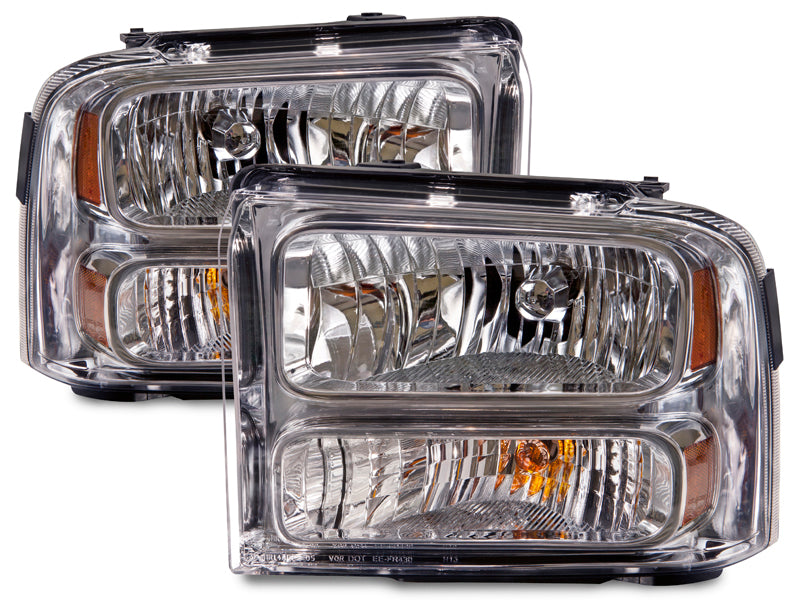 Headlights Chrome Halogen Set Driver Left Passenger Right Pair Fits 2005-2007 Ford F-250/F-350/F-450 SuperDuty