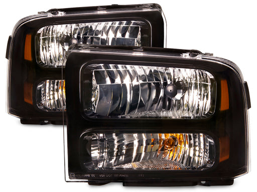 Headlights Set Black Housing Harley Style Pair Fits 2005-2007 F-250/F-350/F-450 Ford SuperDuty