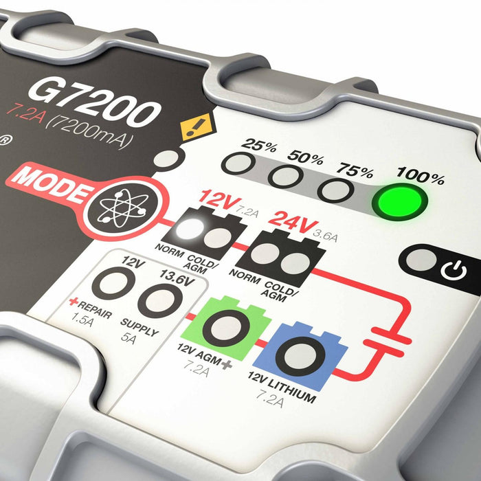 NOCO G7200 7.2 Amp Smart UltraSafe Battery Charger and Maintainer Car Truck Boat ATV