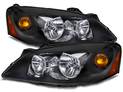 PERDE Headlights Set Halogen-Type Black Housing with Amber Pair Fits 2005-2010 Pontiac G6