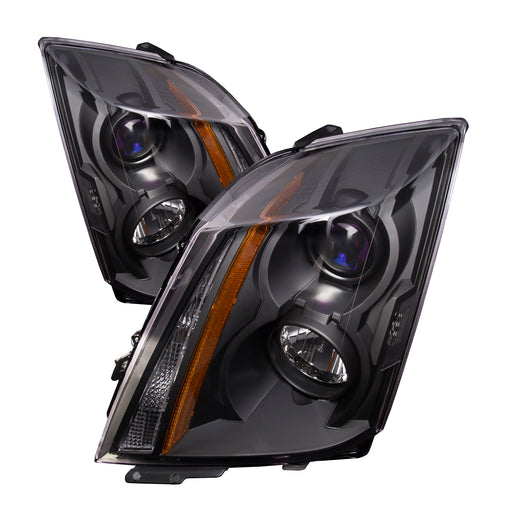 PERDE Headlights Halogen Set Black Housing Pair Fits 2008-2014 Cadillac CTS