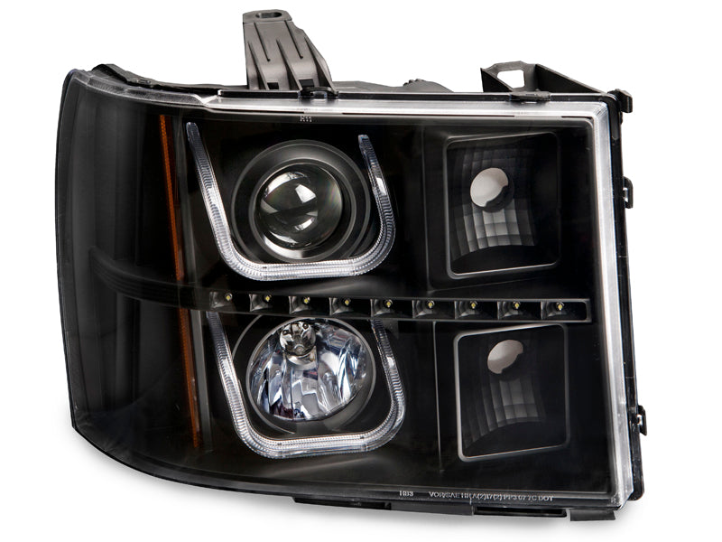 Headlights Set Halogen Black Projector U-Bar LED Fits 2007-2014 GMC Sierra